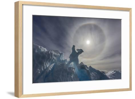 Complete Sun Halo and Glacial Iceberg Detail at Cuverville Island, Antarctica, Polar Regions-Michael Nolan-Framed Art Print