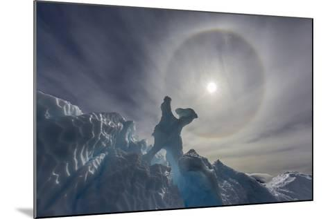 Complete Sun Halo and Glacial Iceberg Detail at Cuverville Island, Antarctica, Polar Regions-Michael Nolan-Mounted Photographic Print