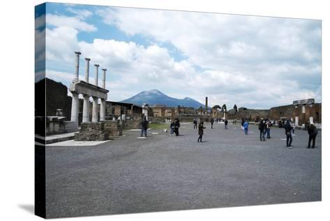 The Forum of Pompeii with Mount Vesuvius in the Background, Pompeii, Campania, Italy-Oliviero Olivieri-Stretched Canvas Print