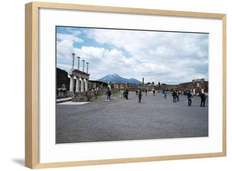 The Forum of Pompeii with Mount Vesuvius in the Background, Pompeii, Campania, Italy-Oliviero Olivieri-Framed Art Print