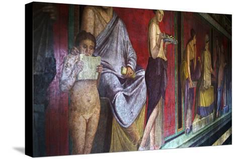 The Baccantis in the Triclinium in the Villa Dei Misteri, Pompeii, Campania, Italy-Oliviero Olivieri-Stretched Canvas Print