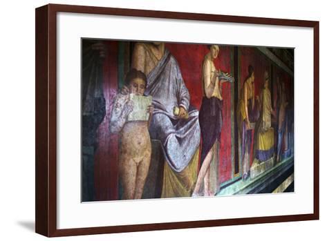 The Baccantis in the Triclinium in the Villa Dei Misteri, Pompeii, Campania, Italy-Oliviero Olivieri-Framed Art Print