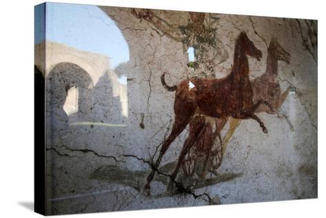 Roman Chariot Fresco, Ancient Ostia (Ostia Antica), Rome, Lazio, Italy, Europe-Oliviero Olivieri-Stretched Canvas Print