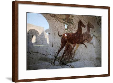Roman Chariot Fresco, Ancient Ostia (Ostia Antica), Rome, Lazio, Italy, Europe-Oliviero Olivieri-Framed Art Print