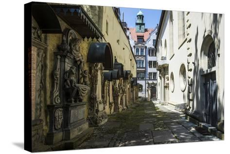 Trinity Church's Cemetery Grave Markers, Church of the Holy Trinity, Regensburg, Bavaria, Germany-Michael Runkel-Stretched Canvas Print