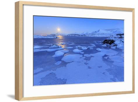 Reflections of Full Moon in the Frozen Sea, Lyngedal, Lofoten Islands, Arctic, Norway, Scandinavia-Roberto Moiola-Framed Art Print