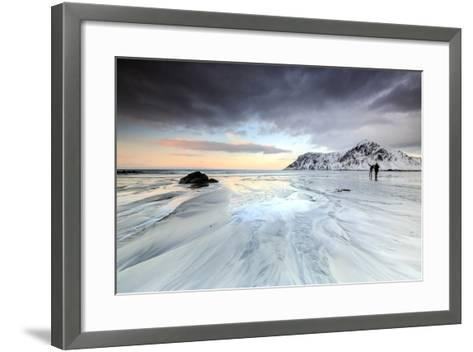Sunset and Hikers on Skagsanden Beach Surrounded by Snow Covered Mountains-Roberto Moiola-Framed Art Print
