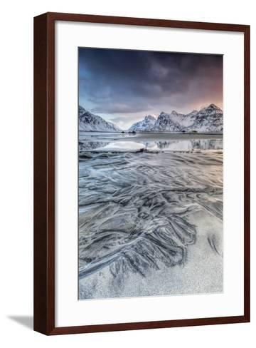 Sunset on the Surreal Skagsanden Beach Surrounded by Snow Covered Mountains-Roberto Moiola-Framed Art Print