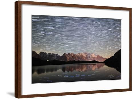 Star Trail over Mont Blanc Range Seen from Lac Des Cheserys-Roberto Moiola-Framed Art Print