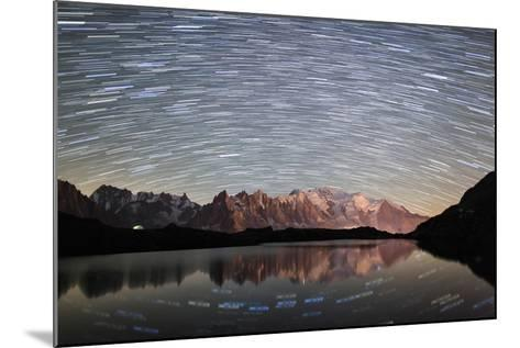 Star Trail over Mont Blanc Range Seen from Lac Des Cheserys-Roberto Moiola-Mounted Photographic Print
