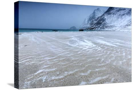 Beach Partially Snowy Surrounded by Mountains-Roberto Moiola-Stretched Canvas Print
