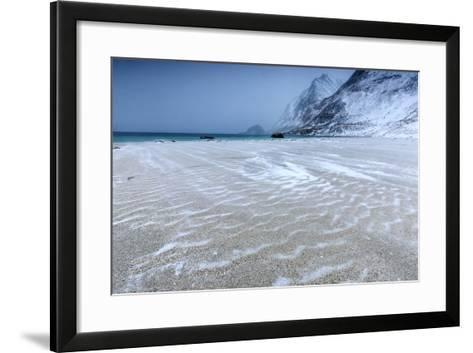 Beach Partially Snowy Surrounded by Mountains-Roberto Moiola-Framed Art Print
