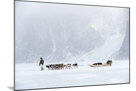 Inuit Hunter Walking His Dog Team on the Sea Ice in a Snow Storm, Greenland, Denmark, Polar Regions-Louise Murray-Mounted Photographic Print