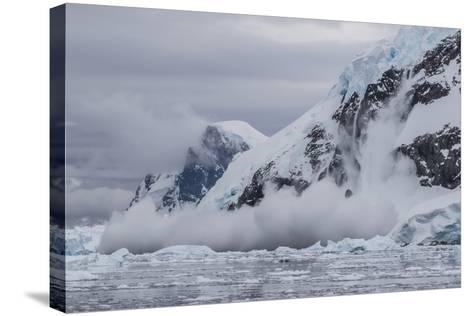 Falling Avalanche of Snow and Ice in Neko Harbor, Antarctica, Polar Regions-Michael Nolan-Stretched Canvas Print
