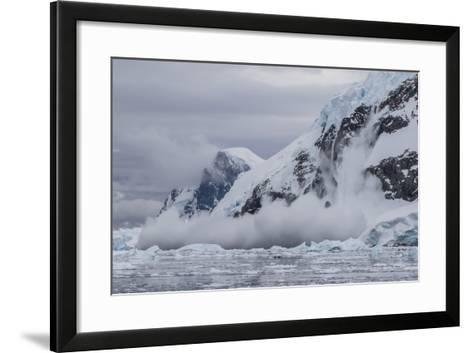 Falling Avalanche of Snow and Ice in Neko Harbor, Antarctica, Polar Regions-Michael Nolan-Framed Art Print