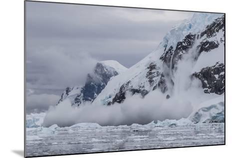 Falling Avalanche of Snow and Ice in Neko Harbor, Antarctica, Polar Regions-Michael Nolan-Mounted Photographic Print