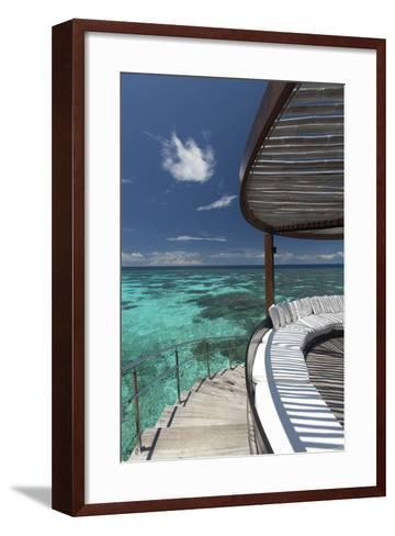Stairs to the Beach and Sofa Overlooking the Ocean, Maldives, Indian Ocean-Sakis Papadopoulos-Framed Art Print