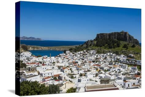 Panoramic View of Beautiful Lindos Village with its Castle (Acropolis)-Michael Runkel-Stretched Canvas Print