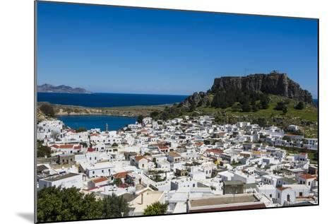 Panoramic View of Beautiful Lindos Village with its Castle (Acropolis)-Michael Runkel-Mounted Photographic Print