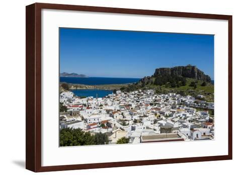 Panoramic View of Beautiful Lindos Village with its Castle (Acropolis)-Michael Runkel-Framed Art Print
