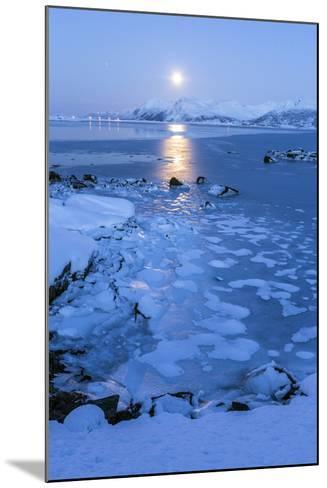 Reflections of Full Moon in the Frozen Sea, Lyngedal, Lofoten Islands, Arctic, Norway, Scandinavia-Roberto Moiola-Mounted Photographic Print