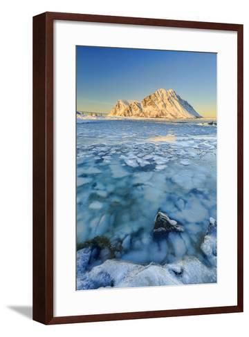 Views of the Mountains of Gymsoya (Gimsoya) from Smorten Reflected in the Clear Sea-Roberto Moiola-Framed Art Print