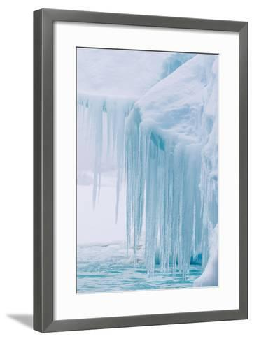 Wind and Water Sculpted Iceberg with Icicles at Booth Island, Antarctica, Polar Regions-Michael Nolan-Framed Art Print