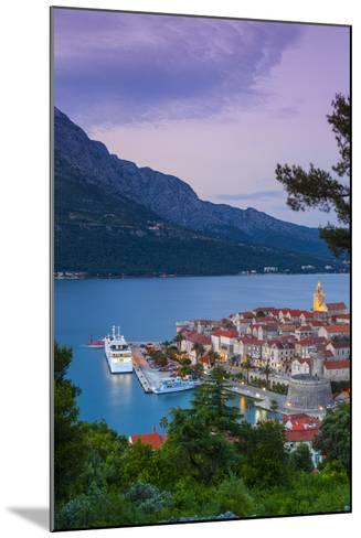 Elevated View over Korcula's Picturesque Stari Grad (Old Town) Illuminated at Dusk-Doug Pearson-Mounted Photographic Print