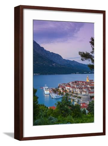 Elevated View over Korcula's Picturesque Stari Grad (Old Town) Illuminated at Dusk-Doug Pearson-Framed Art Print
