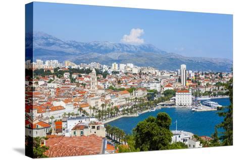 Elevated View over Split's Picturesque Stari Grad and Harbour, Split, Dalmatia, Croatia, Europe-Doug Pearson-Stretched Canvas Print