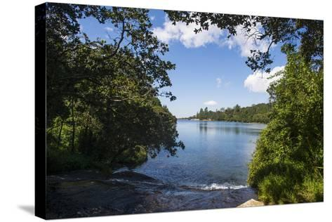 Mandala Falls Flowing in the Artificial Lake on the Mulunguzi Dam, Zomba Plateau, Malawi, Africa-Michael Runkel-Stretched Canvas Print