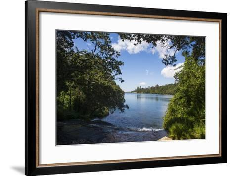 Mandala Falls Flowing in the Artificial Lake on the Mulunguzi Dam, Zomba Plateau, Malawi, Africa-Michael Runkel-Framed Art Print