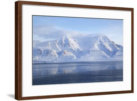 Hiorthfjellet Mountain, Adventfjorden (Advent Bay) Fjord with Sea Ice in Foreground, Svalbard-Stephen Studd-Framed Art Print