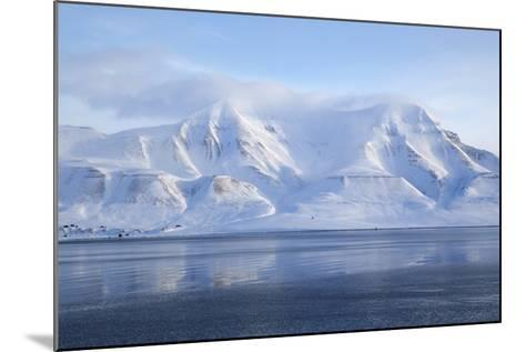 Hiorthfjellet Mountain, Adventfjorden (Advent Bay) Fjord with Sea Ice in Foreground, Svalbard-Stephen Studd-Mounted Photographic Print