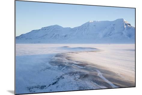 Sunrise, Hiorthfjellet Mountain and Adventtoppen Mountain across Adventdalen, Spitsbergen-Stephen Studd-Mounted Photographic Print