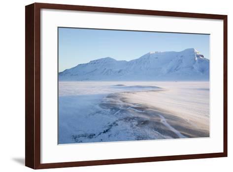 Sunrise, Hiorthfjellet Mountain and Adventtoppen Mountain across Adventdalen, Spitsbergen-Stephen Studd-Framed Art Print