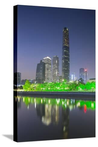 International Finance Centre and Skyscrapers in Zhujiang New Town at Dusk-Ian Trower-Stretched Canvas Print