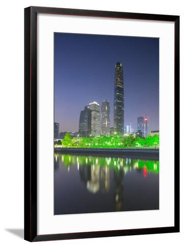 International Finance Centre and Skyscrapers in Zhujiang New Town at Dusk-Ian Trower-Framed Art Print