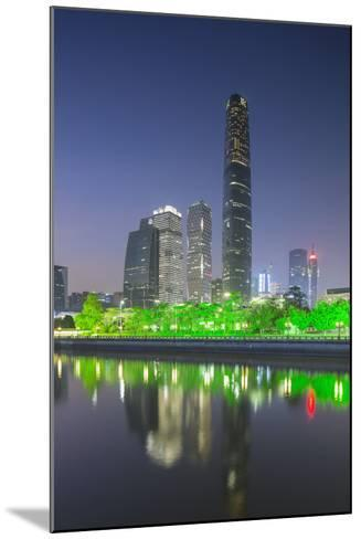 International Finance Centre and Skyscrapers in Zhujiang New Town at Dusk-Ian Trower-Mounted Photographic Print