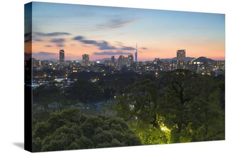 Coastal Area Skyline at Sunset, Fukuoka, Kyushu, Japan-Ian Trower-Stretched Canvas Print
