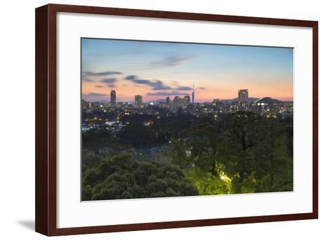 Coastal Area Skyline at Sunset, Fukuoka, Kyushu, Japan-Ian Trower-Framed Art Print