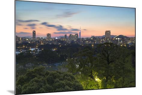 Coastal Area Skyline at Sunset, Fukuoka, Kyushu, Japan-Ian Trower-Mounted Photographic Print