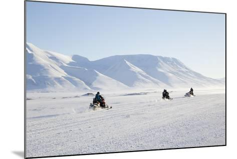 Snow Mobiles, Adventdalen Valley, Longyearbyen-Stephen Studd-Mounted Photographic Print