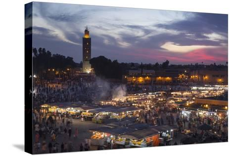 Djemaa El Fna Square and Koutoubia Mosque at Sunset-Stephen Studd-Stretched Canvas Print