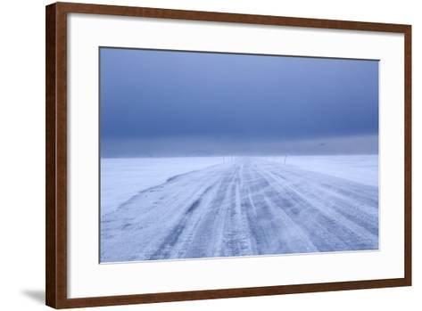 Ice Road in Bad Weather, Longyearbyen, Spitsbergen, Svalbard, Arctic Circle, Norway, Scandinavia-Stephen Studd-Framed Art Print