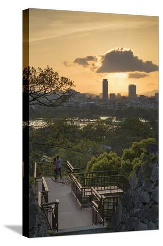 Couple at Fukuoka Castle Ruins at Sunset, Fukuoka, Kyushu, Japan-Ian Trower-Stretched Canvas Print