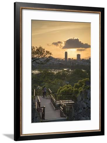 Couple at Fukuoka Castle Ruins at Sunset, Fukuoka, Kyushu, Japan-Ian Trower-Framed Art Print