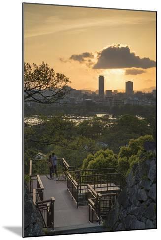 Couple at Fukuoka Castle Ruins at Sunset, Fukuoka, Kyushu, Japan-Ian Trower-Mounted Photographic Print