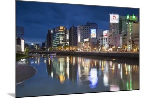 Buildings Along Hakata River at Dusk, Fukuoka, Kyushu, Japan-Ian Trower-Mounted Photographic Print