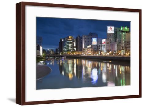 Buildings Along Hakata River at Dusk, Fukuoka, Kyushu, Japan-Ian Trower-Framed Art Print
